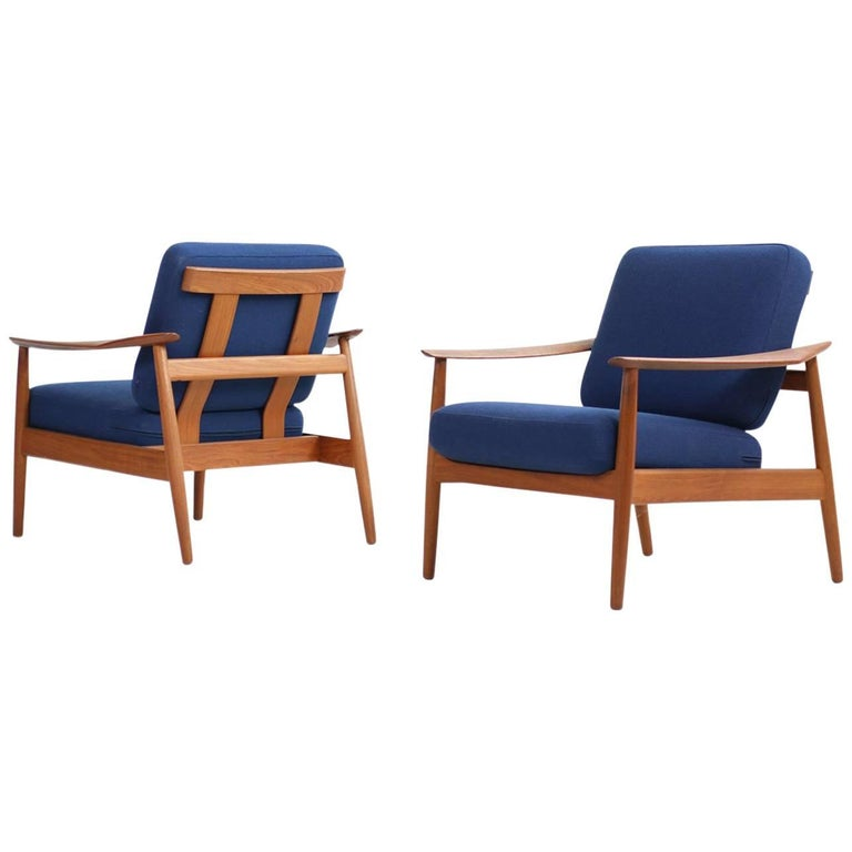Rare Arne Vodder 1960s Teak Easy Chairs Mod. 164 Danish Modern Design