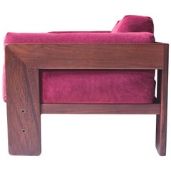 "Vintage ""Bastiano"" Sofa in Rosewood and Linen Velvet by Tobia Scarpa, 1962"