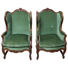 Pair of French Walnut Louis XV Style Bergeres