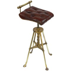 English Harpist's Stool of Brass with Original Button Leather Seat