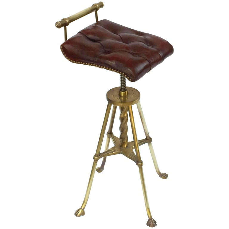 English Harpist's Stool of Brass with Original Button Leather Seat 1