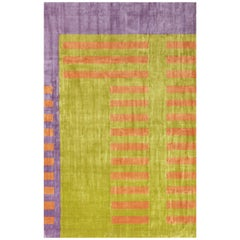 """""""Fire"""" Modern Loom-Knotted Natural Silk Rug Josef Albers inspired 2014"""