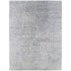 Blue and White Area Rug with Droplet Motif