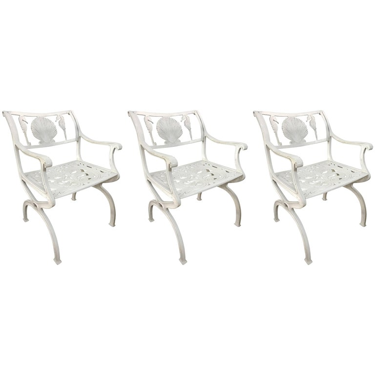 Set of Three Molla Shell and Seahorse Motif Chairs