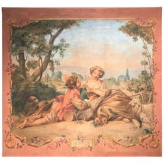 "Large 19th Century French Hand-Painted Canvas on Stretcher Titled ""La Musette"""