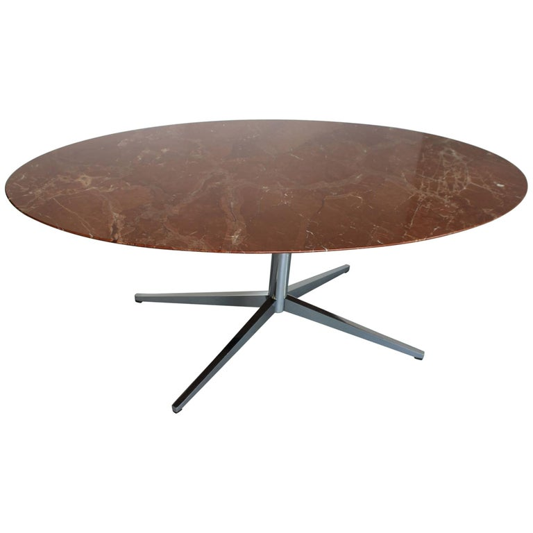 Florence Knoll Marble Oval Dining Table For Sale At 1stdibs