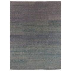 Indigo Checkerboard Area Rug in Wool