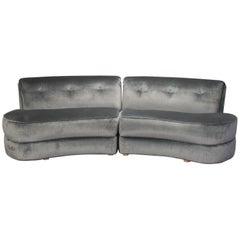 Mid-Century Kagan Style Two-Piece Curvy Velvet Sofa