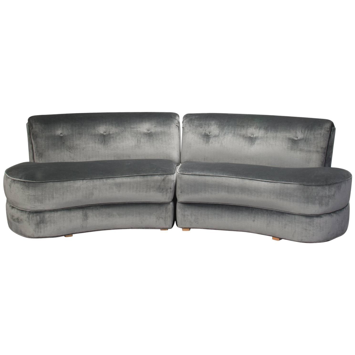 Mid Century Kagan Style Two Piece Curvy Velvet Sofa For Sale