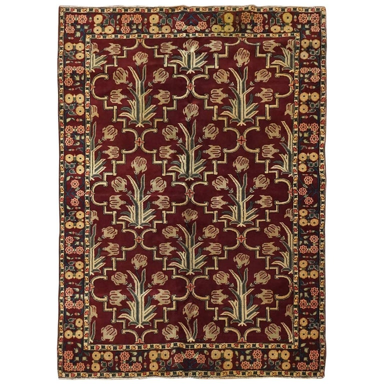 Antique Cotton Agra Rug With Abrash Circa 1900 For Sale: Antique Cotton Agra Rug With Floral Border, Circa 1900 For