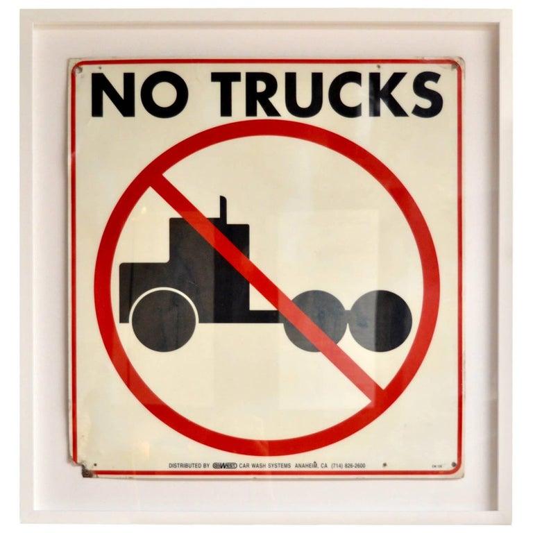 """Vintage """"No Trucks"""" Sign"""