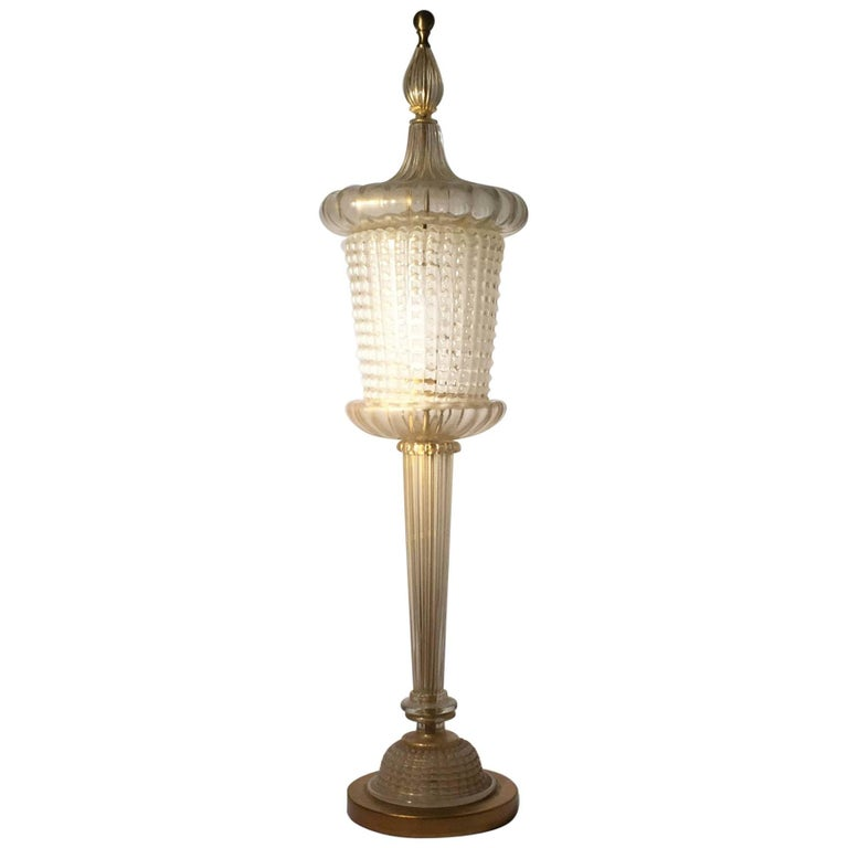 Rare Murano Glass Table Lamp by Barovier For Sale