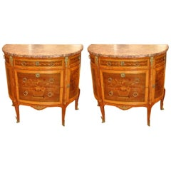 Pair of Louis XVI Style Marble Top Marquetry Inlaid Commodes