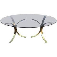 On Sale-Milo Baughman Style Brass and Smoked Glass Oval Dining Table