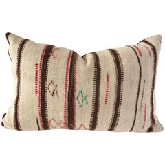 Custom Moroccan Pillow Cut from a Hand-Loomed Wool Vintage Rug