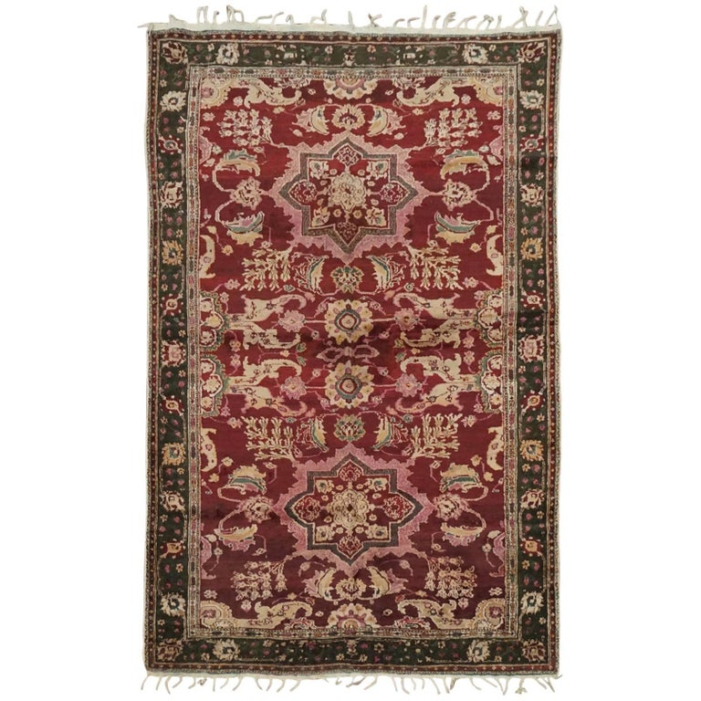 Antique Cotton Agra Rug With Abrash Circa 1900 For Sale: Antique Indian Agra Rug, Circa 1900 For Sale At 1stdibs
