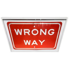 "Vintage Los Angeles ""Wrong Way"" Metal Sign"
