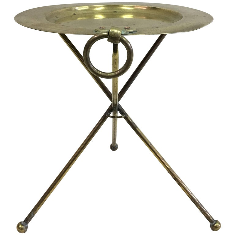 French Mid-Century Modern Neoclassical Solid Brass Guéridon or Side Table For Sale