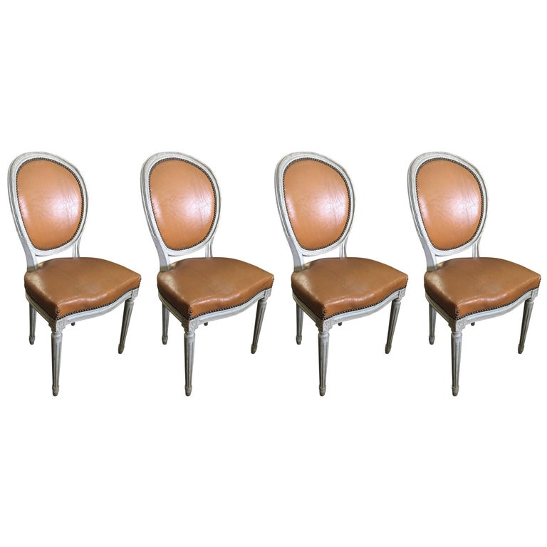 Set Of Four Louis Xvi Oval Back Chairs At 1stdibs