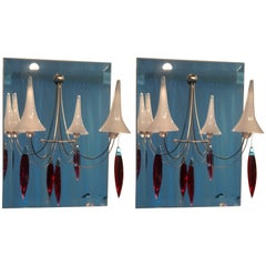 Baccarat Mirror and Crystal Wall Sconces