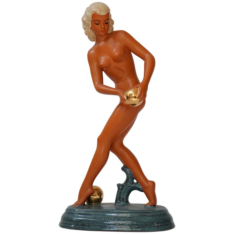 Art Deco Female Nude Sculpture