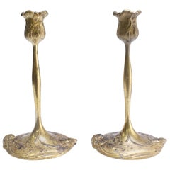 Pair of French Art Nouveau-Style Candlesticks