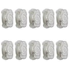 Zehn Wundervolle Mundgeblasene Glas-Wandlichter Leuchten Wandleuchten, 1960er