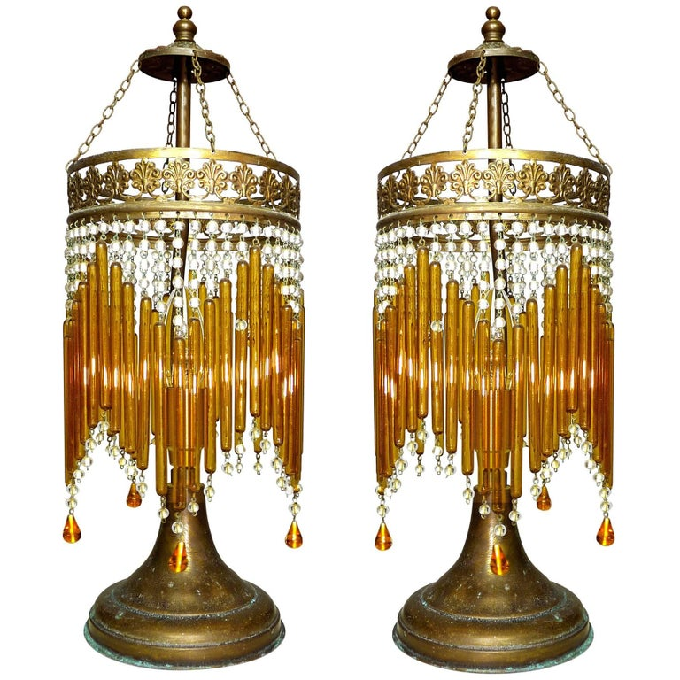 Pair of Italian Art Deco/Art Nouveau Amber/Clear Beaded Glass Murano Table Lamps