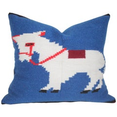 Mexican Indian Weaving of a Donkey Pillow