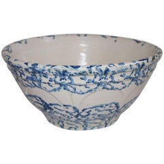 19th Century Sponge Ware Pottery Bowl