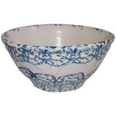 19th Century Sponge Ware Pottery Bowl
