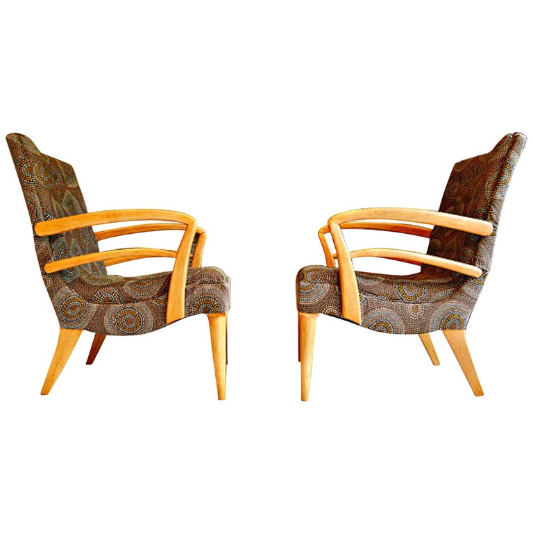 Pair of Paolo Buffo Style Club Chairs, Restored