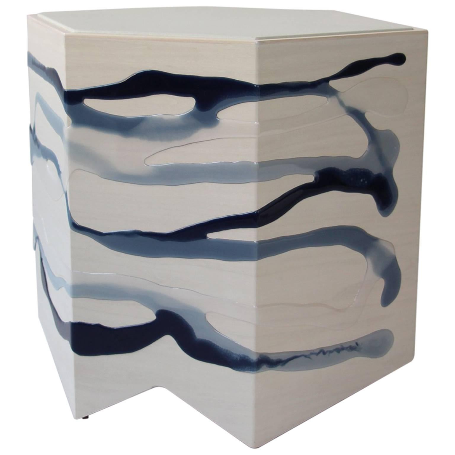Custom Drip/Fold Side Table, Ash Plywood with Indigo Resin and Leather Top