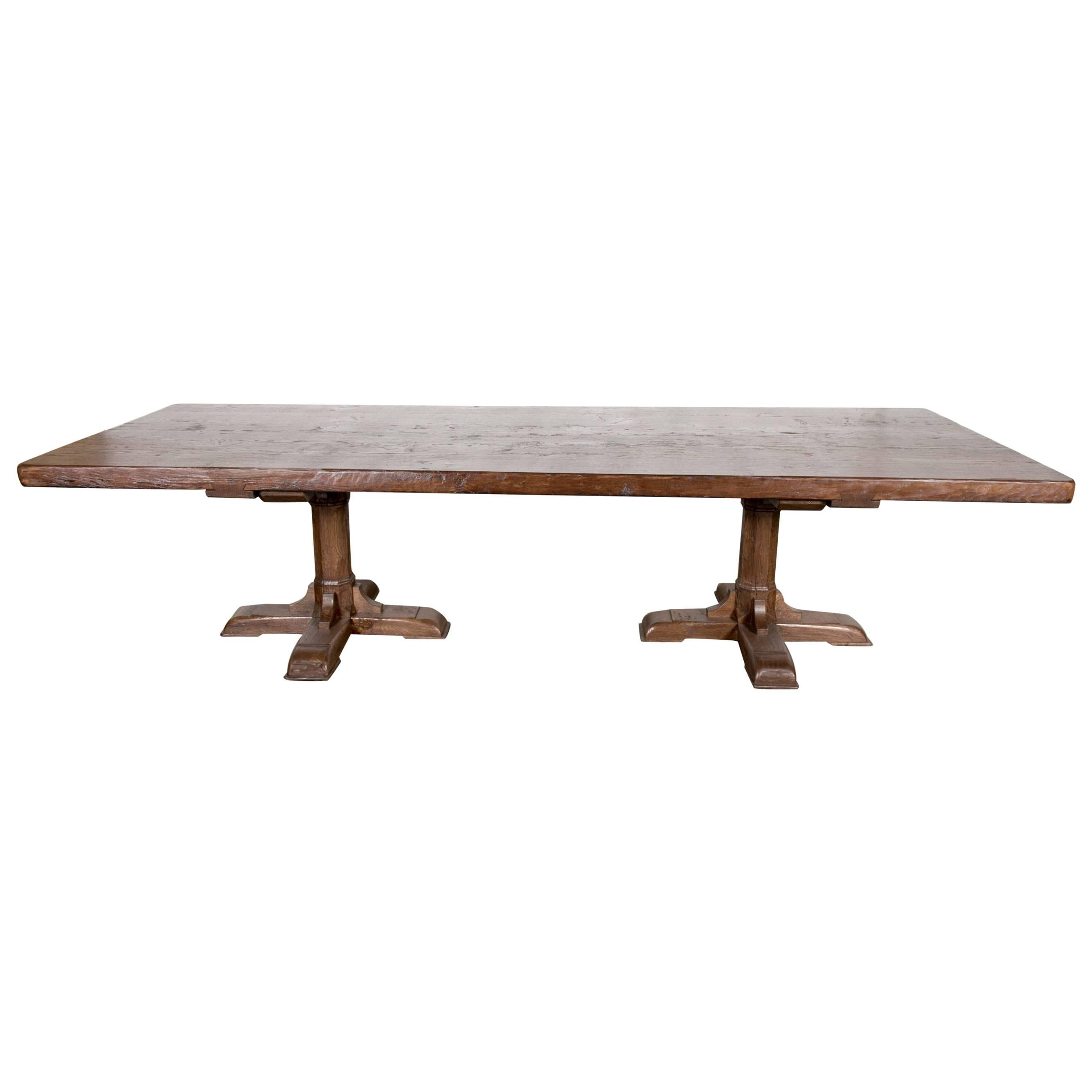 Custom 10 Foot French Farmhouse Table Made From Imported French Oak For Sale