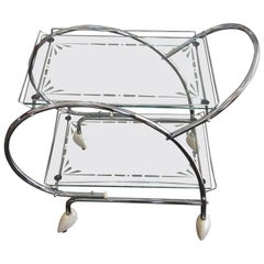 Art Deco Chrome and Etched Glass Bar Cart