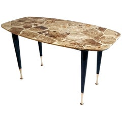 Mid-Century Coffee Table in Onyx and Brass, Italy