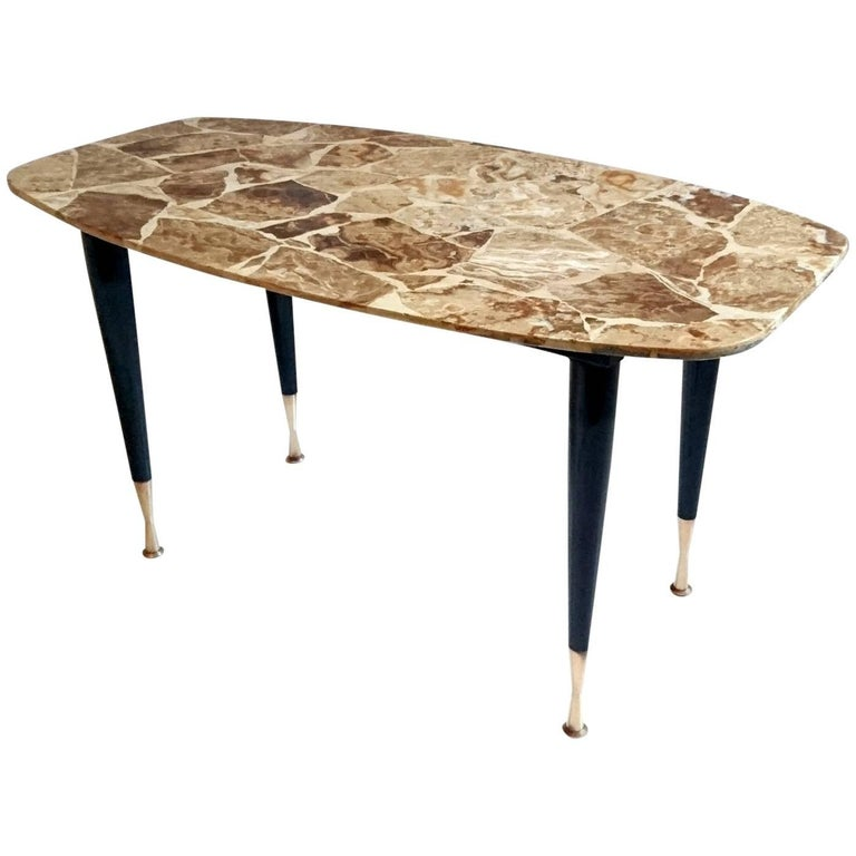 Mid Century Coffee Table In Onyx And Brass Italy For Sale At 1stdibs