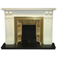 Antique Victorian Style White Marble Fire Surround and Victorian Brass Grate