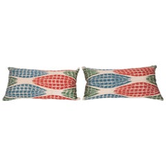 Pillow Cases Fahioned Out of Contemporary Uzbek Silk and Cotton Ikats