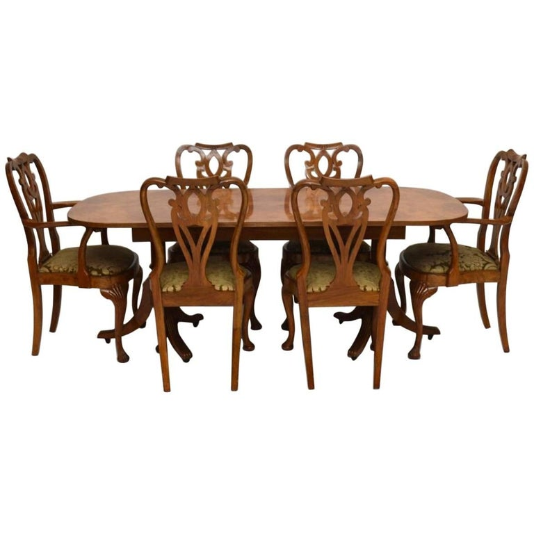 Antique Burr Maple and Walnut Dining Table Plus Six Chairs ...
