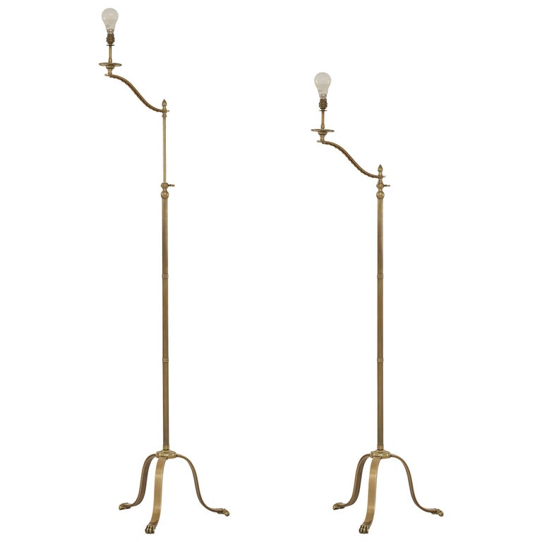 Pair of Maison Jansen Adjustable Brass Reading Floor Lamps with Claw Feet