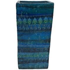 1960s Italian Aldo Londi for Bitossi Rimini Blue Rectangular Ceramic Vase