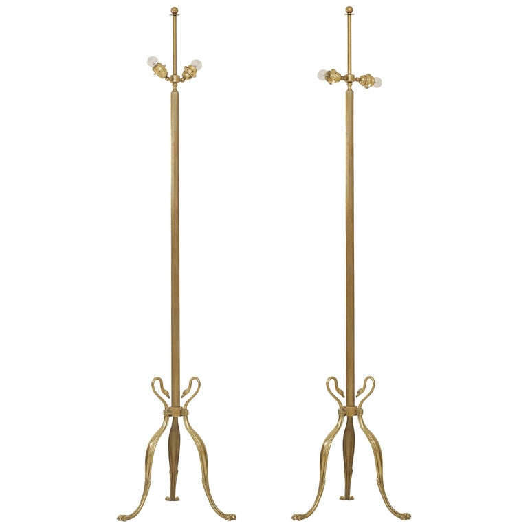 Pair of Maison Jansen Style Swanheads and Feet Brass Floor Lamps
