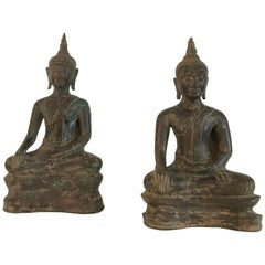 Very Exceptional Almost Identical Pair of Bronze Buddhas
