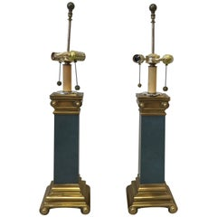 1950s Italian Brass Scroll and Faux Stone Lamps, Pair