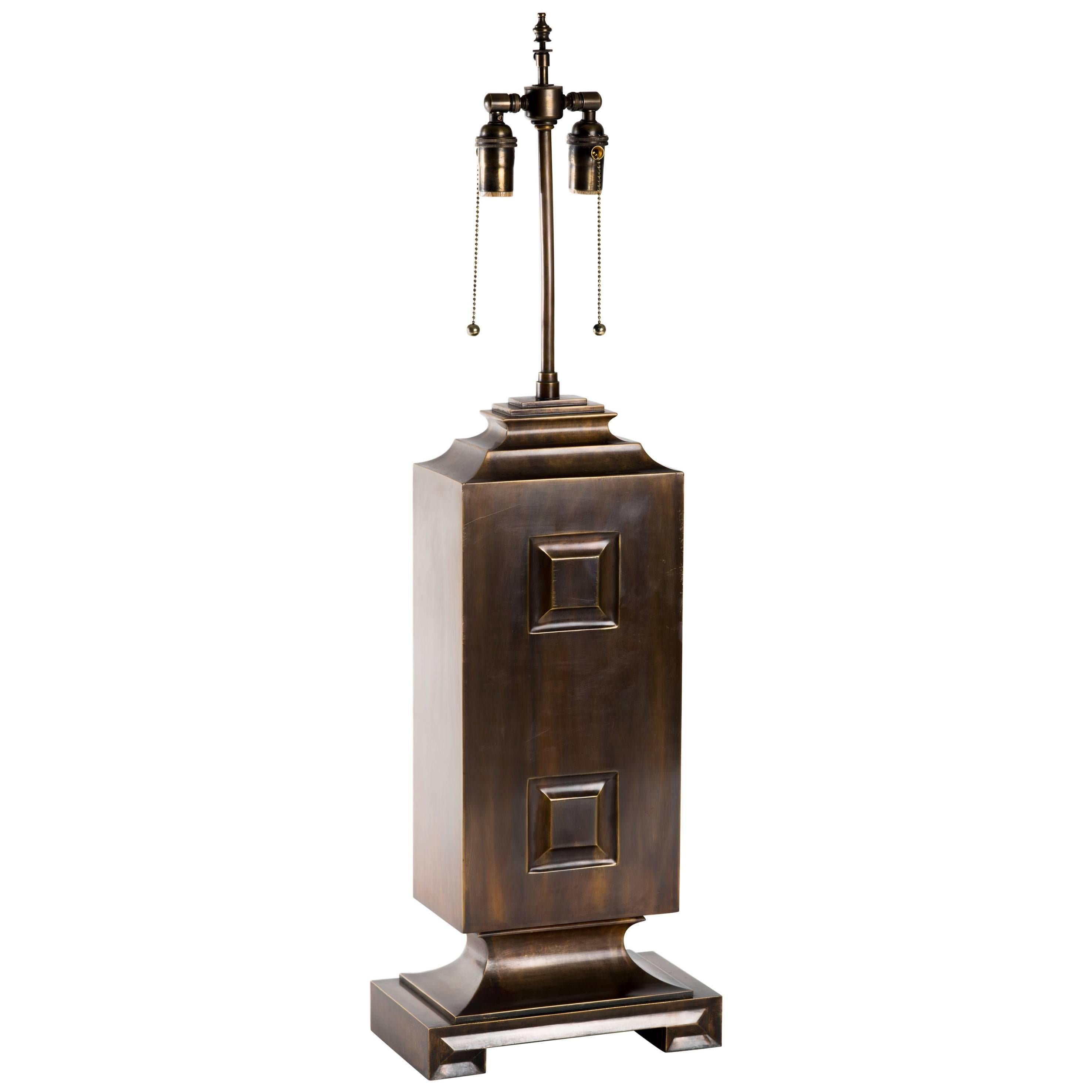 Monumental Patinated Brass Hollywood Regency Lamp