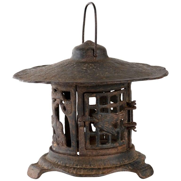 Antique Japanese Iron Garden Lantern
