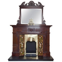 Edwardian Mahogany Fire Surround with Mirror Brass Insert and Tile Side Panels