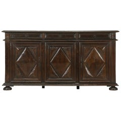 Antique French Louis XIII Style, Three-Door Oak Buffet