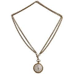 Victorian Swiss 18-Karat Gold Pocket Watch Pendant with Chain, Necklace
